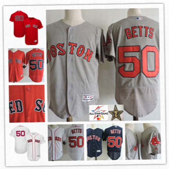 Mens Boston Red Sox Mookie Betts Cool Base Jerseys Stitched #50 Mookie Betts Boston Red Sox 2017 Mlb All-star Flex Base Jersey S-3xl