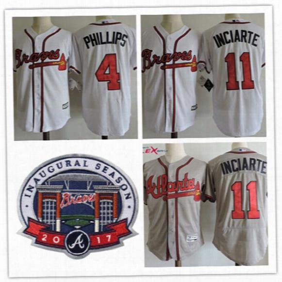 Mens Cheap Atlanta Braves #4 Brandon Phillips 2017 Commemorative Patch Flex Base Jerseys #11 Ender Inciarte Braves Baseball Jersey S-3xl