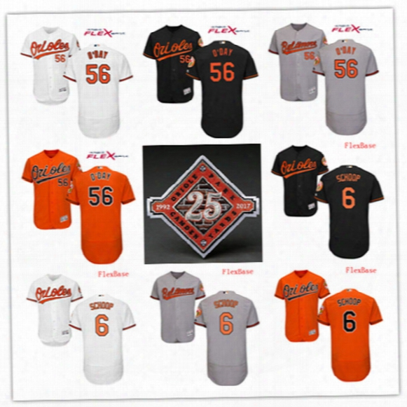 Mens Cheap Baltimore Orioles #6 Jonathan Schoop On-field Flex Base Jersey Stiched #56 Darren Oday 25th Patch Orioles Jersey Size S-3xl