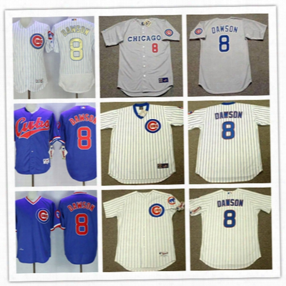 Mens Cheap Chicago Cubs Andre Dawson Throwback Jersey 1990 Gray #8 Andre Dawson Cubs 2017 White Gold Program Cool Base Baseball Jersey S-3xl