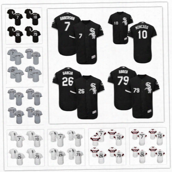 Mens Chicago White Sox Jersey #7 Tim Anderson 10 Yoan Moncada 26 Avisail Garcia 79 Jose Abreu Gray Road Back Pullover Stitched Jerseys