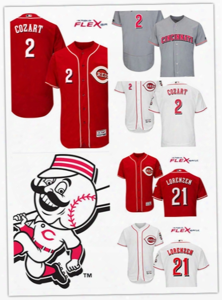 Mens Cincinnati Reds #2 Zack Cozart White Flex Base Jerseys Gray #21 Michael Lorenzen Reds Baseball Jersey S-3xl
