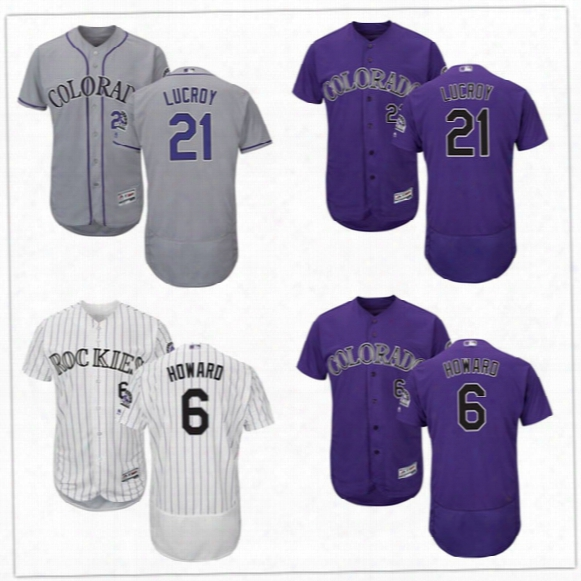 Mens Colorado Rockies #21 Jonathan Lucroy #6 Ryan Howard White Home Gray Road Purple Black Vest Sleeveless Baseball Stitched Jersey S-4xl