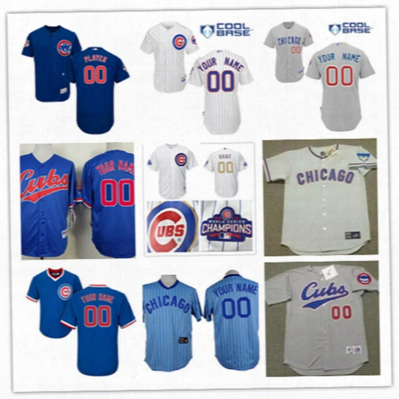 Mens Custom Chicago Cubs 2017 White Gold Program Flex Base Baseball Jersey Gray Royal Stitched Chicago Cubs Personal Cool Base Jersey S-3xl