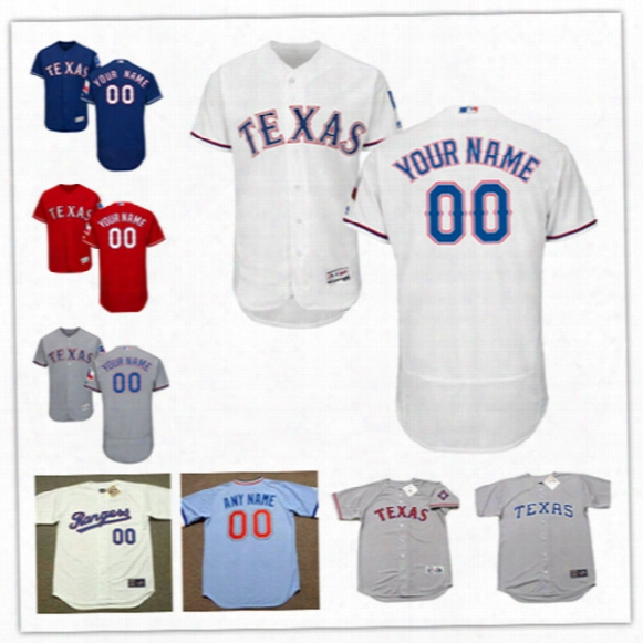 Mens Custom Texas Rangers Play Ball Patches Flex Base Baseball Jersey Stitched Texas Rangers Throwback Personal Cool Base Jerseys S-3xl