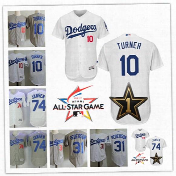 Mens Los Angeles Dodgers #10 Justin Turner 2017 All Star Flex Base Jerseys 74 Kenley Jansen #31 Joc Pederson L.a.dodge Baseball Jersey S-3xl