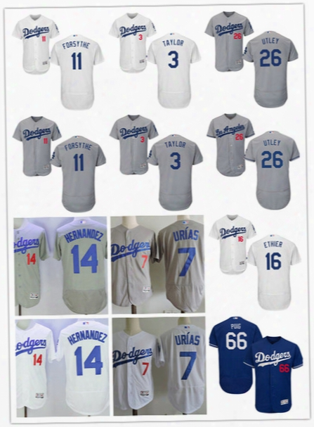 Mens Los Angeles Dodgers Julio Urias Chris Taylor Logan Forsythe Enrique Hernandez Andre Ethier Chase Utley Yasiel Puig Flex Base Jerseys