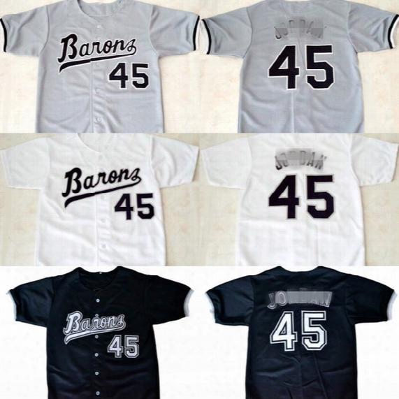 Mens Michael #45 Birmingham Barons Button Down Micheal Jd Jersey 100% Stitched Throwback Baseball Jerseys White Black Grey Free Shipping