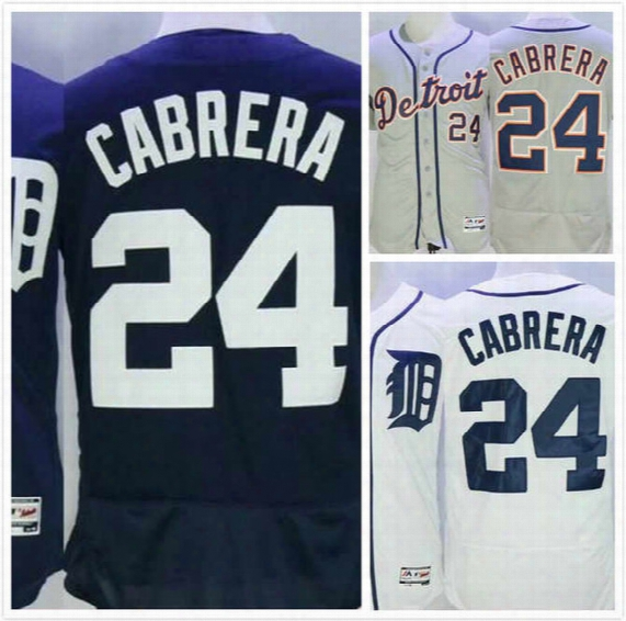 Mens Miguel Cabrera Jersey 24 Elite Detroit Baseball Jerseys Full Stitched Logo Throwback Blue Grey White Size S-3xl Free Shipping