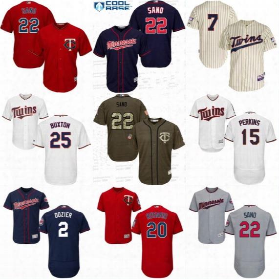 Mens Minnesota Twins Baseball Jersey Cheap 2 Brian Dozier 20 Eddie Rosario 22 Miguel Sano 24 Trevor Plouffe 48 Torii Hunter Jerseys