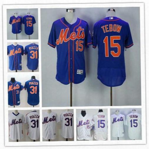 Mens New York Mets #15 Tim Tebow Baseball 31 Mike Piazza Retried White Pinstripe Royal Blue Orange Flex Cool Base Gray Stitched Jerseys