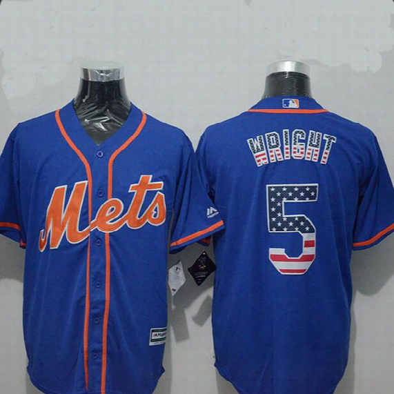 Mens New York Mets 5 David Wright 34 Noah Syndergaard 30 Conforto 32 Matz 33 Harvey Usa Flag Fashion Jersey Stitched