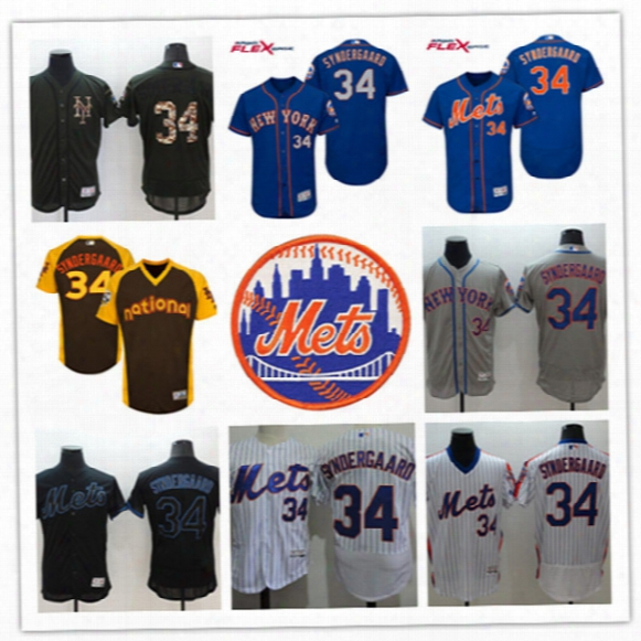 Mens New York Mets Noah Syndergaard Jerseys #34 Noah Syndergaard Mets Blue 2017 New Logo Flex Base Baseball Jersey S-3xl