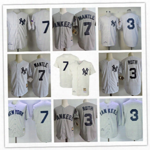 Mens New York Yankees #7 Mickey Mantle Cream Throwback 1951 Cool Base Jersey Stiched Gray White #3 Babe Ruth Yankees Cooperstown 75th Jersey