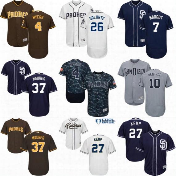 Mens San Diego Padres Jerseys 4 Wil Myers 7 Manuel Margot 10 Hunter Renfroe 26 Yangervis Solarte 37 Brandon Maurer Baseball Jersey