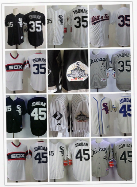 3fe72444255 Mens Stiched Chicago White Sox Frank Thomas Throwback Cooperstown Jersey  Black 35 Frank Thomas White Sox