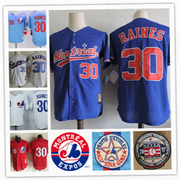 Mens Stiched Tim Raines Montreal Expos 1994 Throwback Vintage Jersey White Blue 30 Tim Raines Expos 2017 Hof Patch Baseball Jersey S-3xl