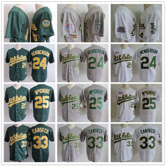 Mens Throwback Oakland Athlet2017 Ics Baseball Jerseys 33 Jose Canseco 24 Rickey Henderson 25 Mark Mcgwire Baseball Jerseys White Green Gray