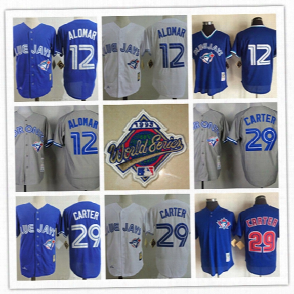 Mens Toronto Blue Jays Joe Carter Royal Cooperstown Mesh Jerseys Roberto Alomar 1993 World Series Champion Cool Base Baseball Jersey S-3xl