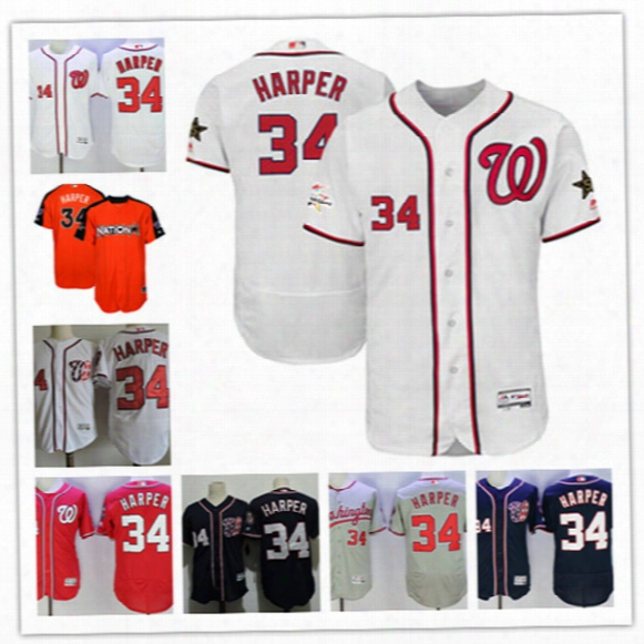 Mens Washington Nationals Bryce Harper 2017 White All Star Flex Base Jersey Stitched Navy #34 Bryce Harper Cool Base Baseball Jersey S-3xl