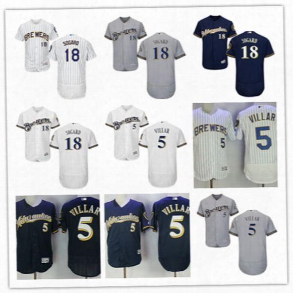 Mens White Royal Milwaukee Brewers Eric Sogard Flex Base Jersey Stiched Gray Navy #5 Jonathan Villar Brewers Cool Base Baseball Jersey S-3xl