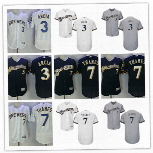 Mens White Royal Milwaukee Brewers Eric Thames Flex Base Jersey Stiched Gray Navy #3 Orlando Arcia Brewers Cool Base Baseball Jersey S-3xl