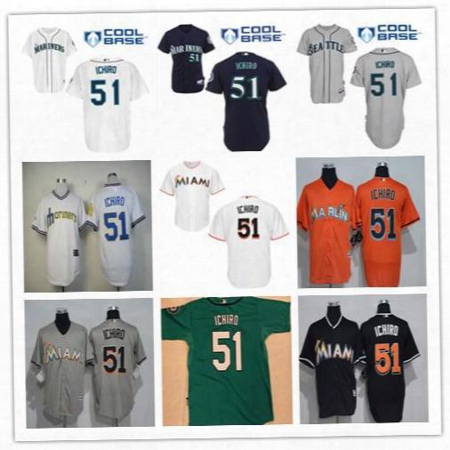 Miami Marlins Cool Base Suzuki Ichiro 51 Jersey Fashion Stitched Grey Orange Black Green Seattle Mariners Suzuki Ichiro Jerseys Uniforms