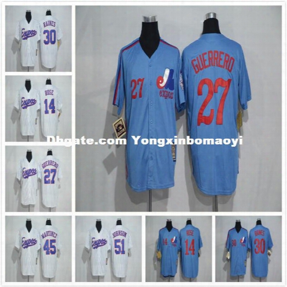 Montreal Expos Baseball Jersey 27 Vladimir Guerrero 10 Andre Dawson 30 Tim Raines 51 Randy Johnson Throwback Jerseys White Blue