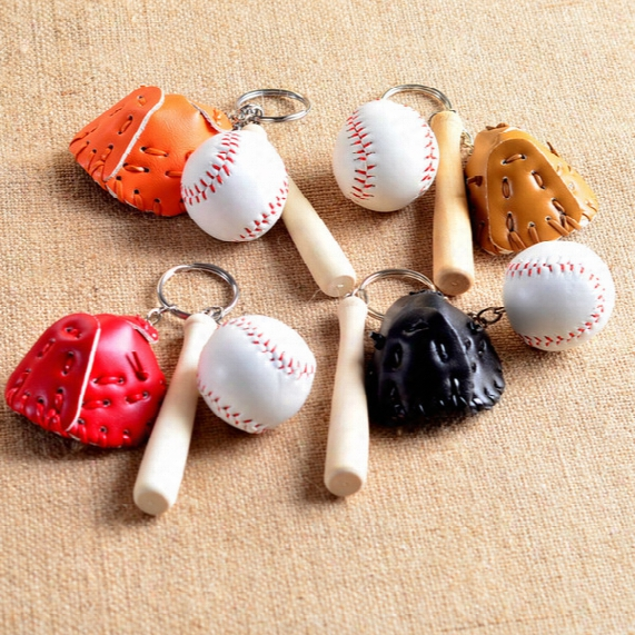 Moq;50pcs Mini Three-piece Baseball Glove Wooden Bat Keychain Sports Car Key Chain Key Ring Gifft For Man Women Wholessale
