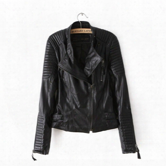 Motorcycle Pu Leather Jacket Ladies Autumn Coat Zipper Cool Overcoat Women Biker Tops Outwear Brand Fall Spring Clothing Casual Clothes