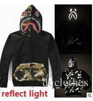 New Arrival Autumn Winter Men Women Reflect Light Sharks Baseball Jacket Hoodies Camo Fleece Sweatshirt Coat
