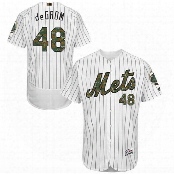 New Arrival New York Mets #34 Noah Syndergaard #48 Jacob Degrom 2016 Memorial Day Cool Base Flexbase Jerseys White Camo Font Stitched