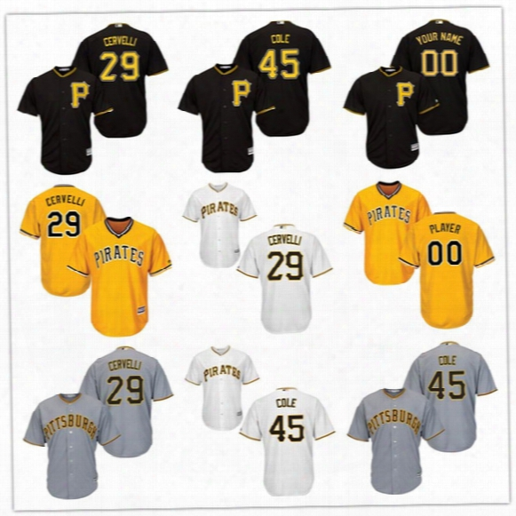 New Arrivals Pittsburgh Pirates #29 Francisco Cervelli #45 Gerrit Cole Cool Base Jerseys Custom  Accept Black Yellow Gray White