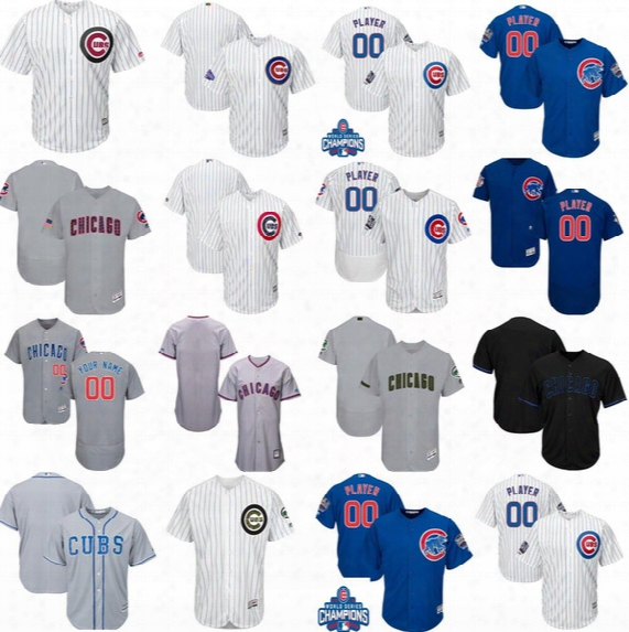 New Custom Chicago Cubs Mens Womens Youth Fashion Stars&stripes Memorial 2016 World Series Gold White Navy Blue Cool Fle X Baseball Jerseys