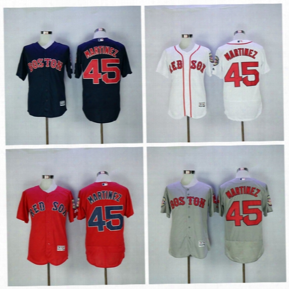 New Flexbase 45 Pedro Martinez Jersey Cool Base Boston Red Sox Baseball Jerseys 2016 Men Team Color Red Grey White All Stitching Quality