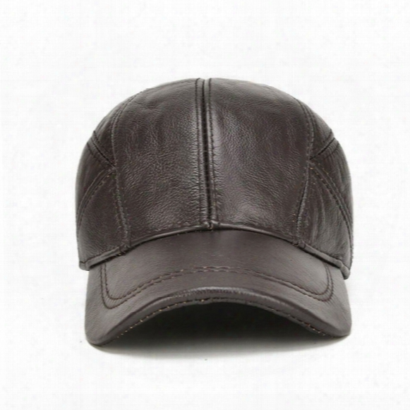 New Leather Cap Layer Of Leather Baseball Cap In Autumn And Winter Outdoor Mens Tourist Caps