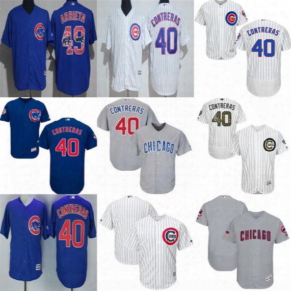 New Mens Ladies Kids Fashion Stars&stripes Plate Memorial Chicago Cubs Willson Contreras Xs-6xl Flex Cool Baseball Jerseys Grey Blue White