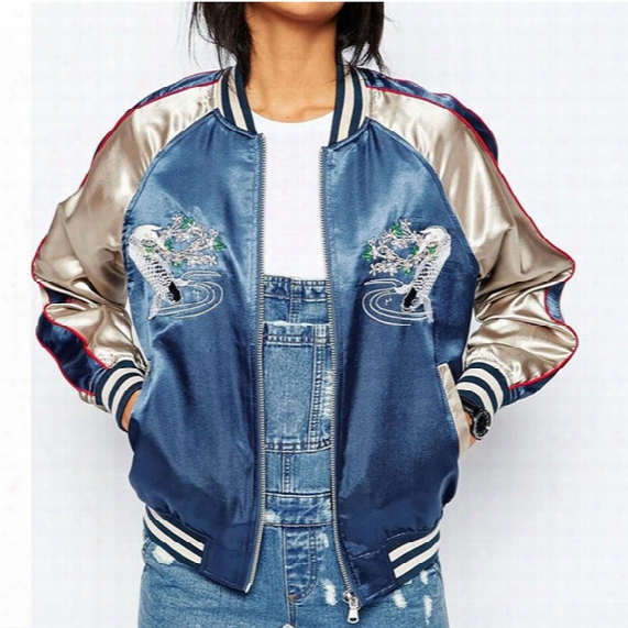New Satin Embroidery Bomber Jacket Women Blue Carp Souvenir Casual Coat Baseball Outwear Fashion Tops Sukajan Dk463h Dropshipping