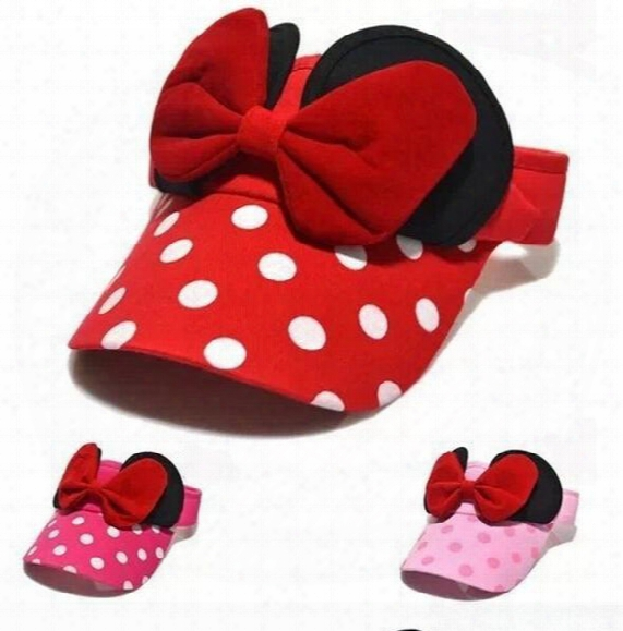 New Style Lovely Polka Dot Mickey Kids Adjustable Baseball Cap Child Boys Girls Big Bowknot Visors Hat Children Sun Caps