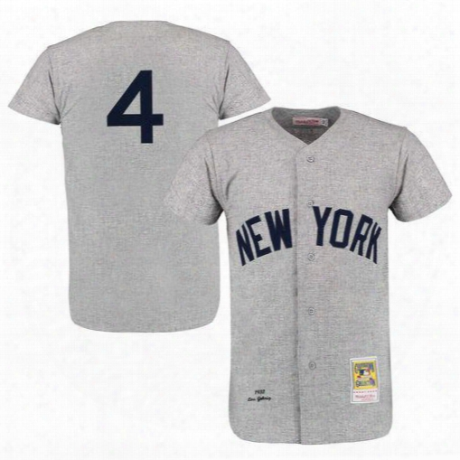 New York Yankees 4# Lou Gehrig Jersey Cooperstown 1939 White Pinstripe Grey With Baseball Centennial 100th Patch