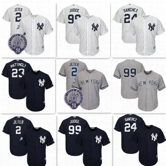 New York Yankees 99 Aaron Judge Jersey Cheap 2 Derek Jeter 24 Gary Sanchez Baseball Jerseys Cool Base Stitched Embroidery Jersey