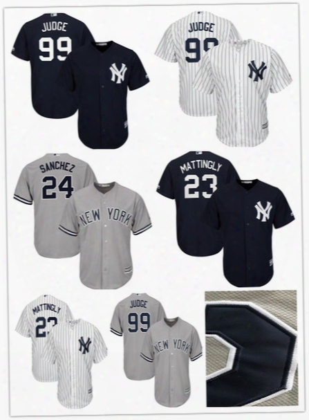 New York Yankees Aaron Judge 99 Baseball Jerseys Don Mattingly 23 Gary Sanchez 24 Jersey Majestic Home White/navy Cool Base Stitched Jersey
