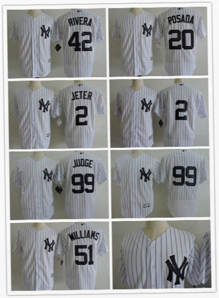 New York Yankees Jersey Ny 2 Derek Jeter 99 Aaron Judge 42 Mariano Rivera 51 Bernie Williams 20 Jorge Posada Baseball Jerseys Stitched White