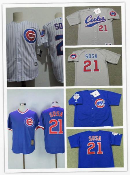 Newest-mens 1998 Royal Blue Cheap Chicago Cubs Sammy Sosa Throwback Jersey Sammy Sosa Cubs 2017 White Gold Program Cool Base Baseball Jersey