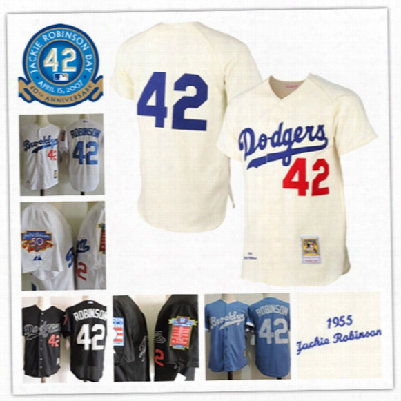 Newest-mens Brooklyn Dodgers 42 Jackie Robinsson White 1955 Cooperstown Dual Patch Jersey Cream Jackie Robinson L.a. Dodgers Baseball Jerseys