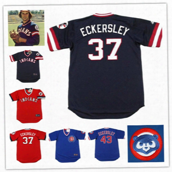 Newest-mens Cleveland Indians #37 Dennis Eckersley Throwback Cooperstown Jerseys #43 Dennis Eckersley Chicago Cubs 1986 Baseball Jerseys