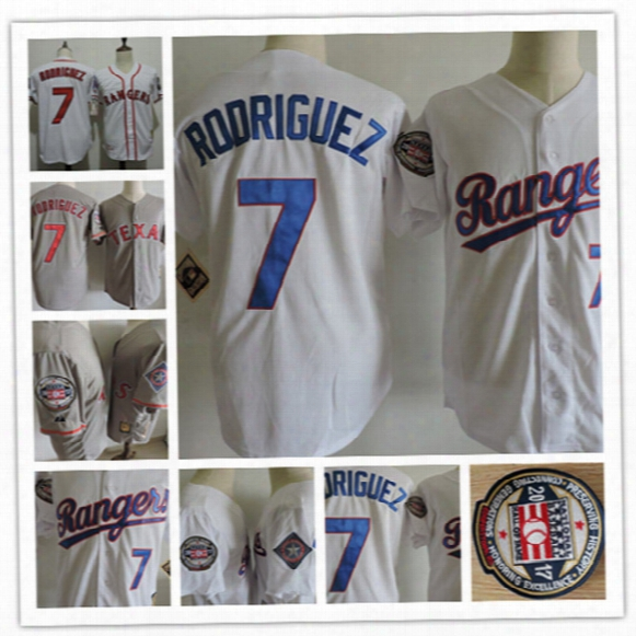 Newest-mens Texas Rangers Ivan Rodriguez Gray 2017 Hof Patch Jerseys #26 Johnny Oates Rangers White 1995 All Star Game Baseball Jerseys