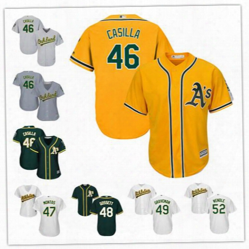Oakland Athletics Jersey Stitched Womens Youth White Gray 46 Santiago Casilla 47 Montas 48 Daniel Gossett 49 Graveman 52 Joey Wendle