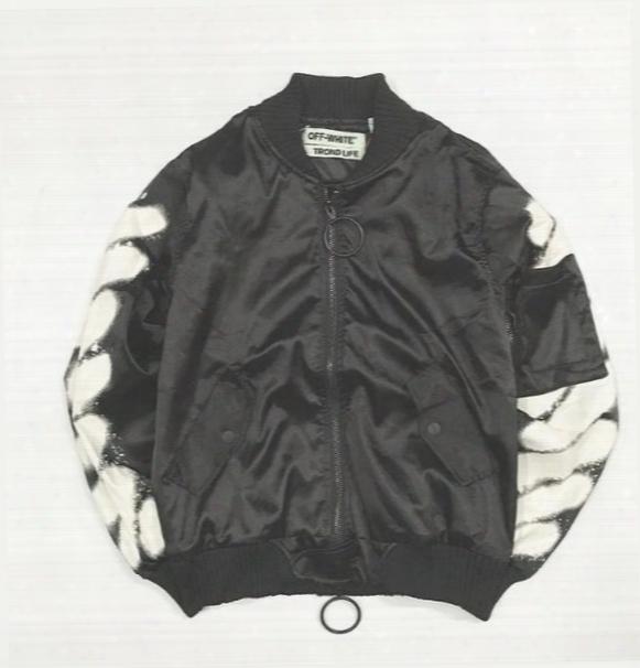 Off-white High Quality Suprem Ribbon Jacket Kanye West Baseball Ma-i Flight Jacket Yeezus Y-3 Motorcycle Hip Hop Jacket