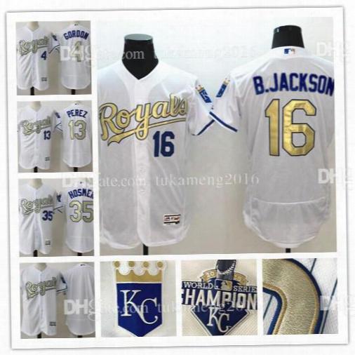 Perez Kansas City 16 Bo Jackson 35 Eric Hosmer 4 Alex Gordon White 2015 World Series Champions Gold Program Flex Base Baseball Jerseys